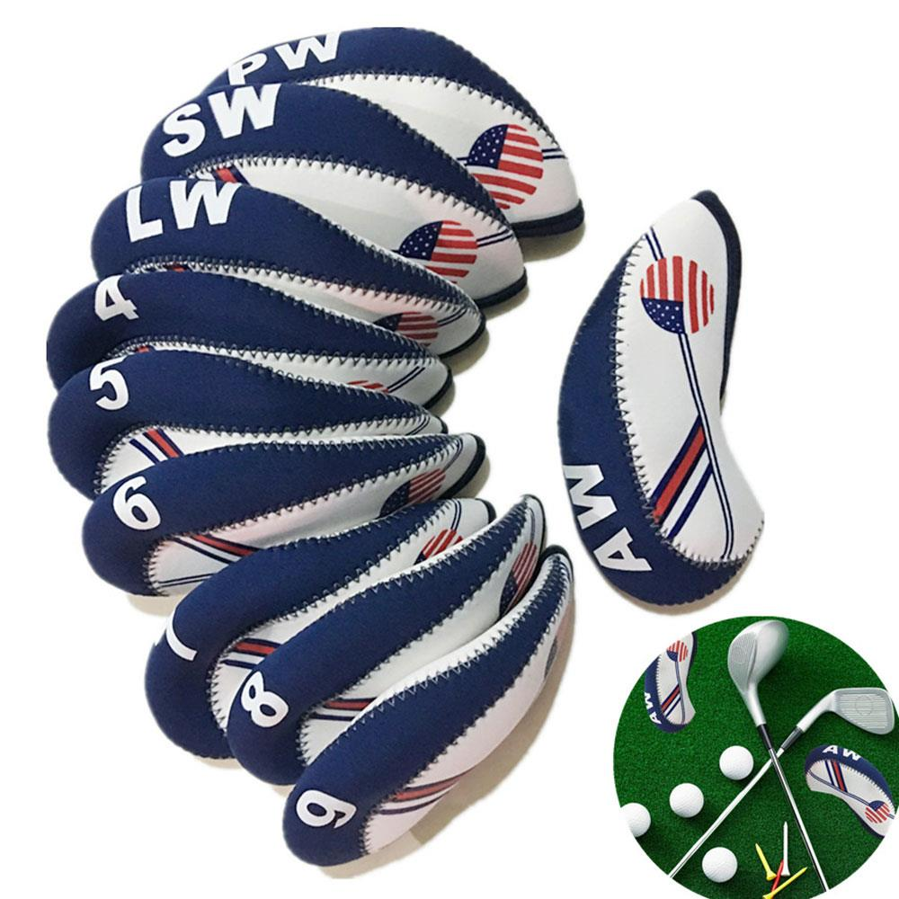 Club Iron Cover Portable Practical Neoprene Material American Flag Pattern Blue White Sports Entertainment Movement Golf Course