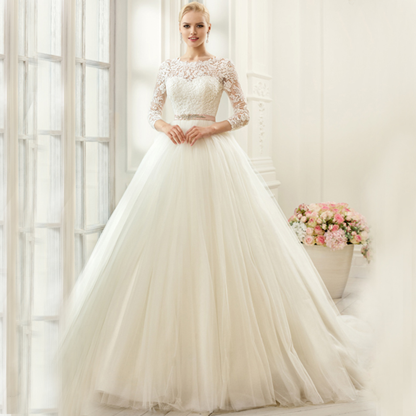 Sexy Boat Neck Lace Tulle Ribbons With Sleeves Stunning Vestido De Noiva Long Ball Bridal Gown 2018 Mother Of The Bride Dresses