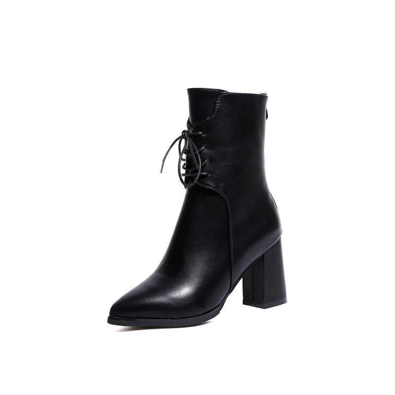 Sivri burun kadın botları yeşil peluş ayak bileği sıcak tutmak kış çizmeler kadınlar için sonbahar yüksek topuk Metal fermuarlı deri çizmeler kadın