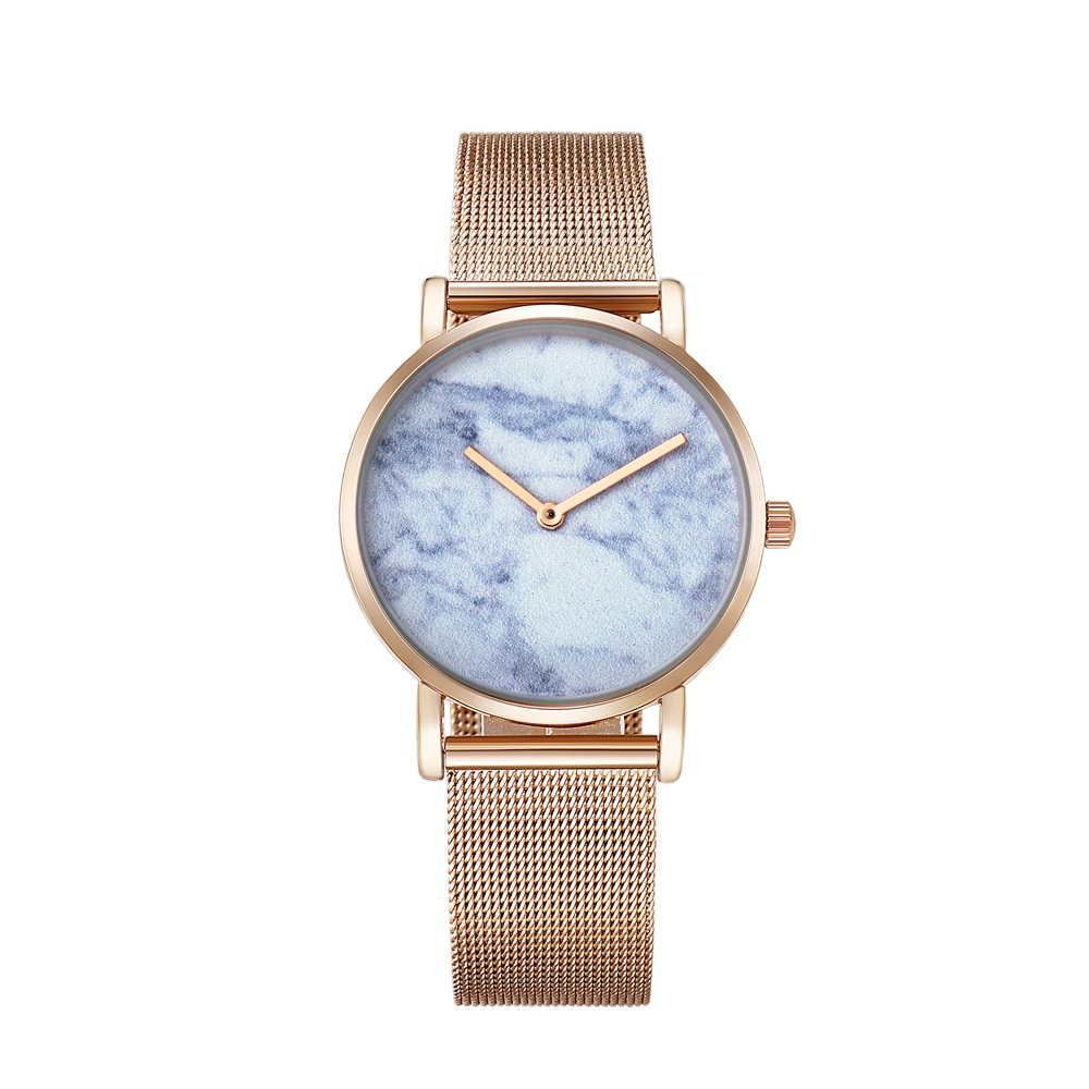 drop shipping rose gold ultra thin case watches womens wristwatches quartz watch for men imitate marble pattern dial rose gold stainless steel elogio feminino montre femme free ship (66)