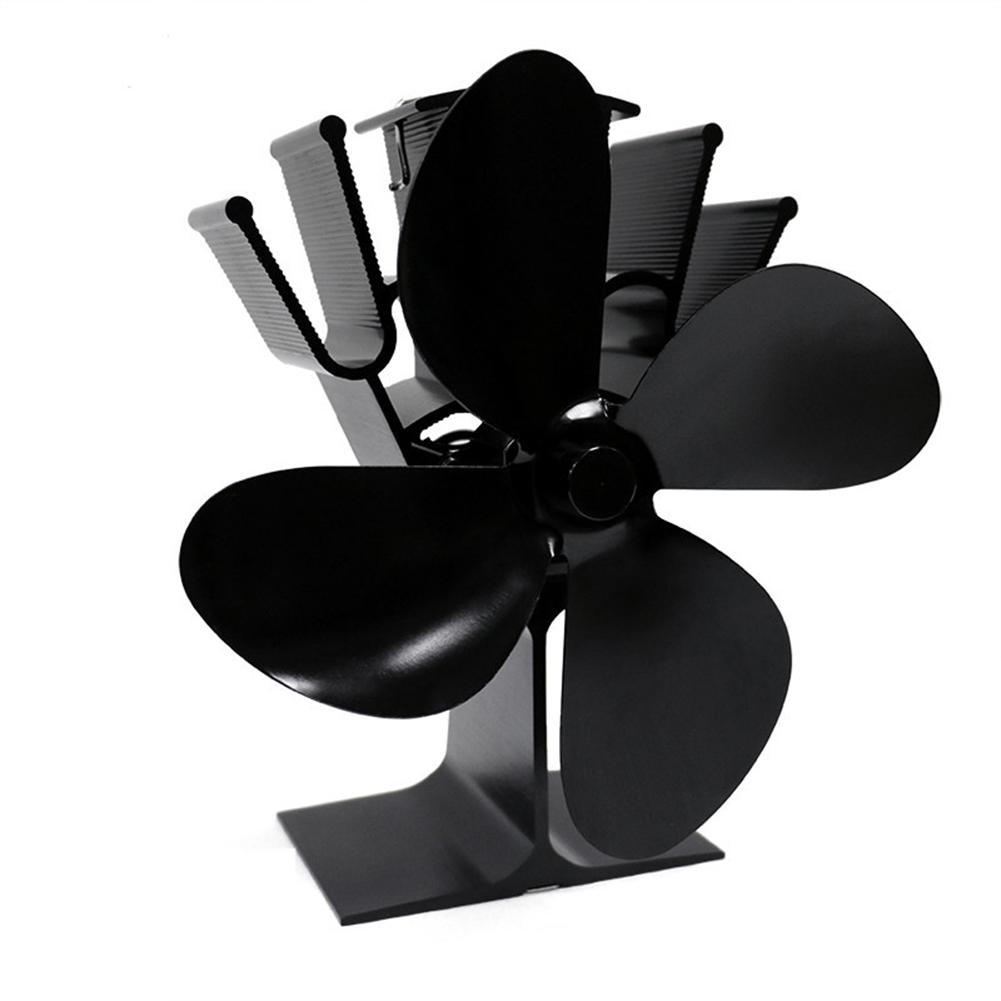 Large Airflow 4-Blade Heat Powered Stove Fan Blades Heat Distribution Stove Fans Blades Gas Wood Log Burners Fireplace Parts
