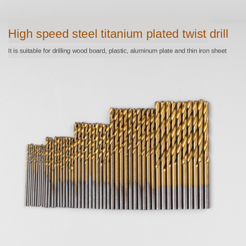 цена на 50pc Twist Drill Set 1/1.5/2.0/2.5/3mm Bit HSS High Speed Steel Titanium Coated Twist Drill Bit Woodworking Opening Tool Set