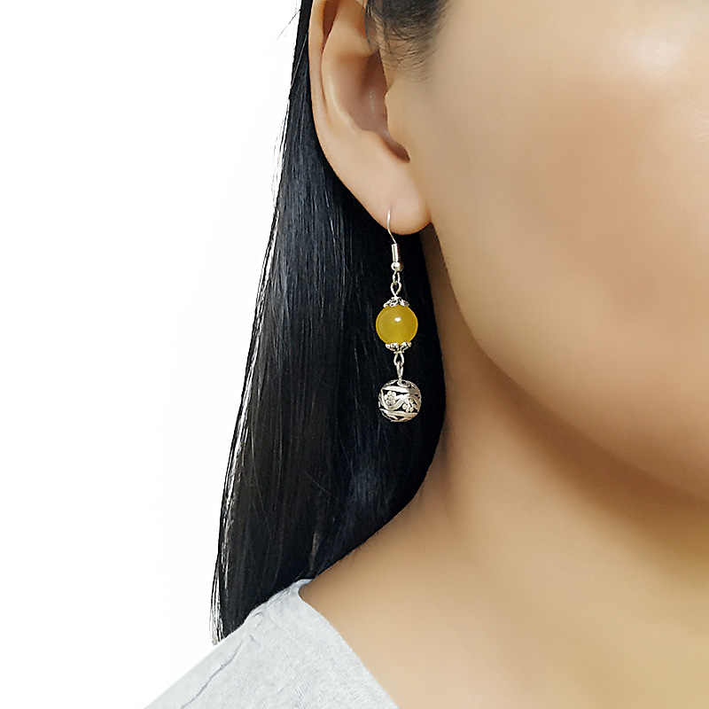 珍しい天然石ブラブライヤリング女性のための黄色、白、赤カーネリアンビーズエレガントなファッションジュエリーpendientes卸売