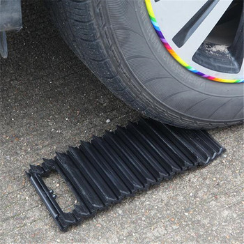ABlack 32.5cm Rubber Tyre Grip Tracks Snow Mud Sand Mat Plate Escaper Traction Mats For Car Road Trouble Clearer image