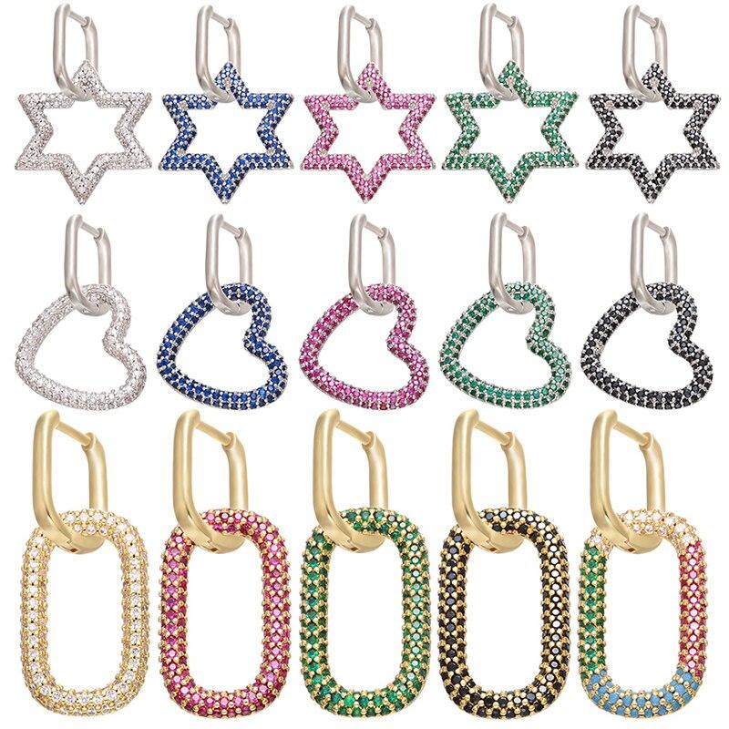 ZHUKOU 1 piece popular Small Hoop Earrings for Women Brass Cubic Zircon heart star crystal rectangle hoop earrings model:VE151|Hoop Earrings|   - AliExpress