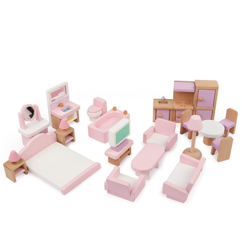Bébé jouets 22 pièces rose fraise Simulation petits meubles jouets en bois jouets pour enfants semblant jouer enfants cadeau éducatif