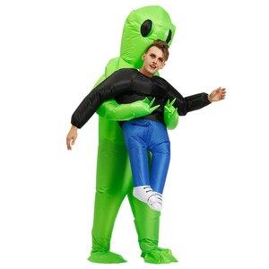 Image 3 - Nuovo Gonfiabile Costume verde Per Gli Adulti alieni Del Capretto Divertente Blow Up Vestito Del Partito Del Vestito Operato Unisex Costume di Halloween Costume per Le Donne uomini