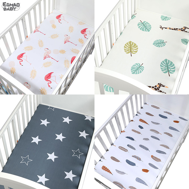 Baby Crib Fitted Sheet  For Cot Size 120*65 Cm 100% Cotton Soft  Baby Bed Mattress Cover  Cartoon Newborn Infant Bedding