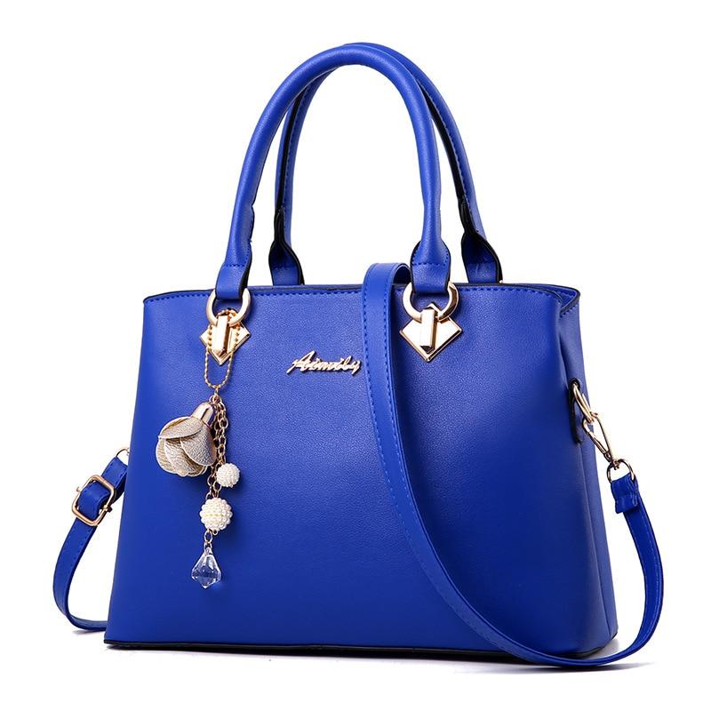Women Bag Vintage Handbag Casual Tote Fashion Women Messenger Bags Shoulder Top-Handle Purse Wallet Leather 2019 New Black Blue(China)