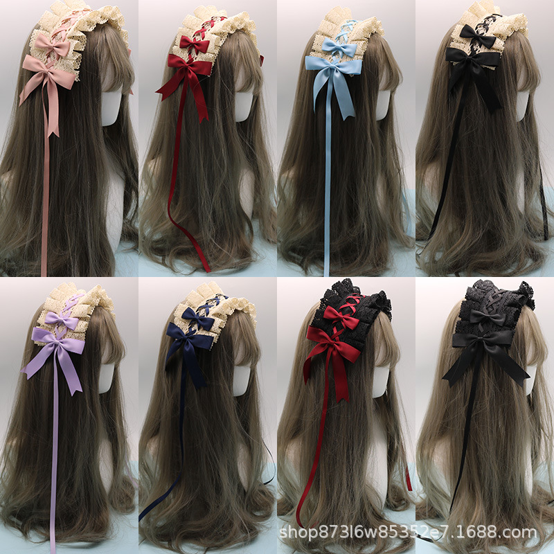 r Lolita Headband Lace Hairpin Lolita Sweet Day-to-Day Wild Hair Bow KC Headdress gothic Lolita accessories scrunchie headband