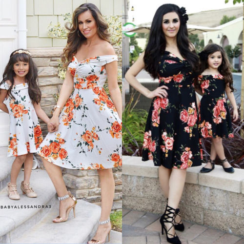 Women Mother Daughter Matching Dresses Outfits Off Shoulder Summer Girls Flower Party Beach Maxi Dress Fashion