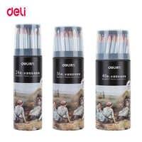 Lápiz de acuarela de madera Deli 24/36/48/72 colores de dureza de plomo 2B lápices de colores profesionales para material de oficina y escuela de arte