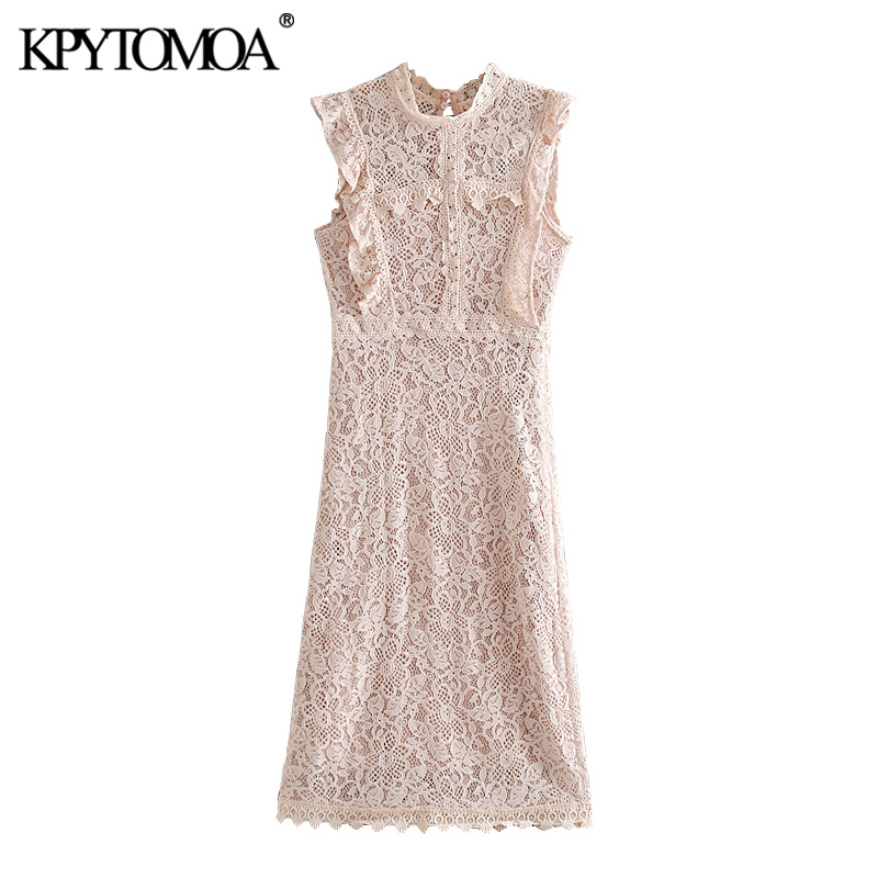 KPYTOMOA Women 2020 Chic Fashion Ruffled Lace Midi Dress Vintage Sleeveless Side Zipper With Lining Female Dresses Vestidos