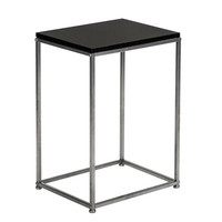 Artisasset Black MDF Countertops Grey Wrought Iron Base Single Layer Snack Table