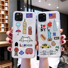 Ins hotest país janpan/eua/reino unido caso de telefone para iphone 12 mini 11 pro max x xr xs 7 8 plus 6 6s macio transparente capa