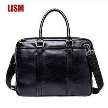 High Quality Soft PU Men's Handbag Luxury Shoulder Bag Business Briefcase Laptop Bag Waterproof Bag 2019 European And American F