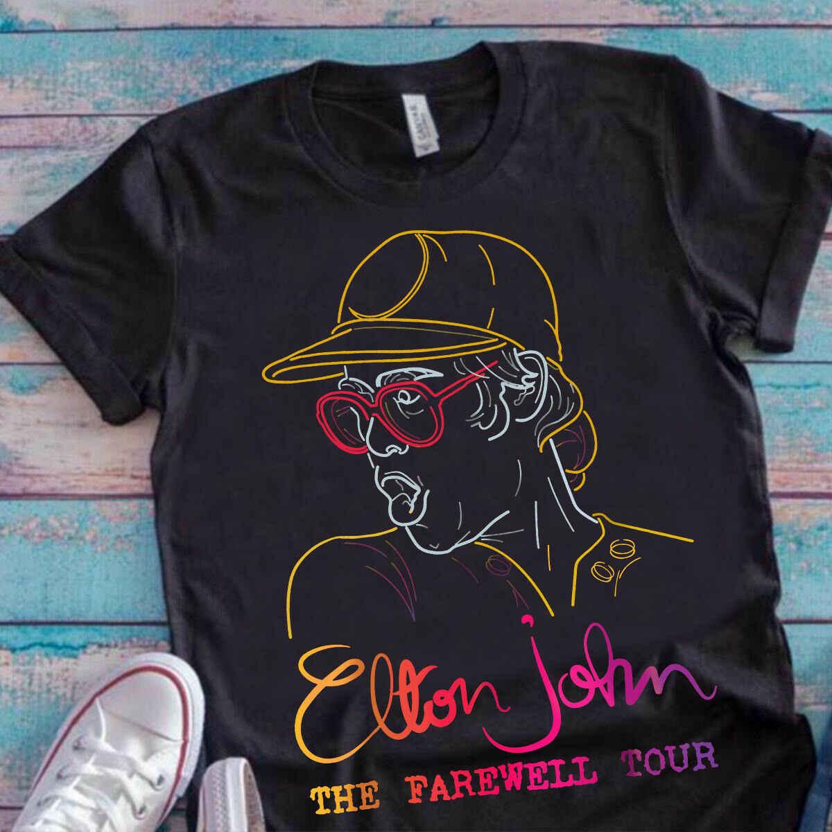 Elton John Tur Perpisahan Penggemar Pria Hitam T Shirt Katun S-3XL Kami Supplier