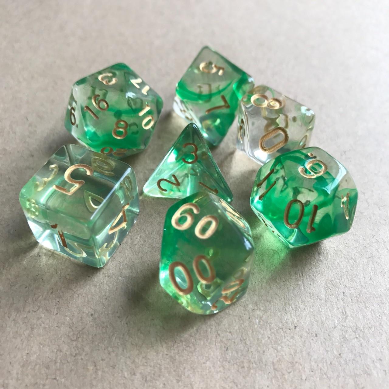 7 шт./компл. многогранные кости D& D4 D6 D8 D10 d% D12 D20 Прозрачный Многогранные TRPG игры Набор Игральный костей Настольная игра развлекательные кубики - Цвет: Green Transparent