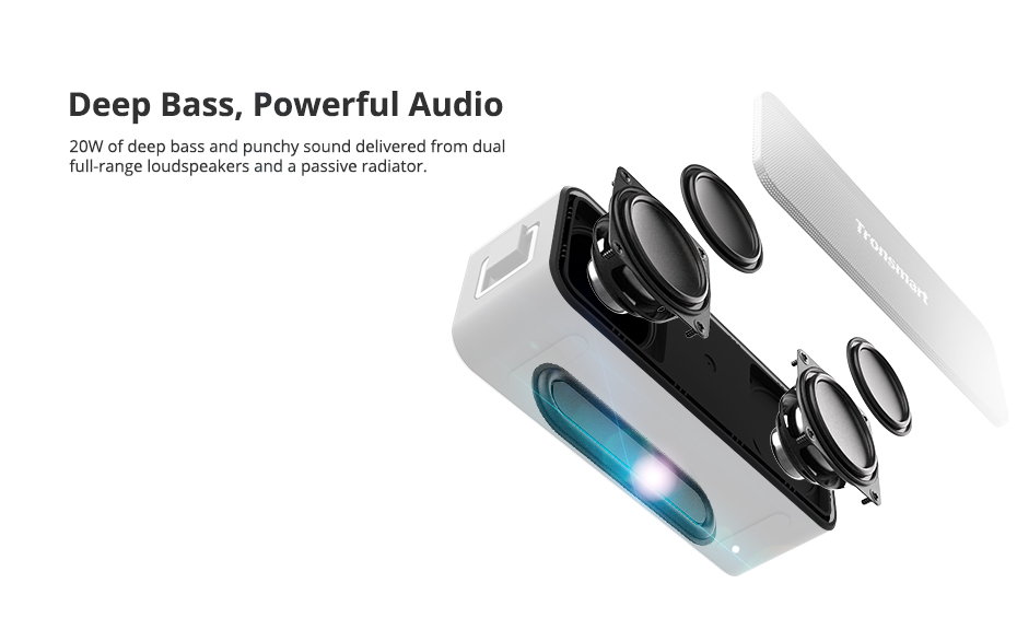 Tronsmart T2 Plus Bluetooth 5.0 Speaker 20W Portable Speaker 24H Column IPX7 Soundbar with TWS,Voice Assistant,Micro SD (1)