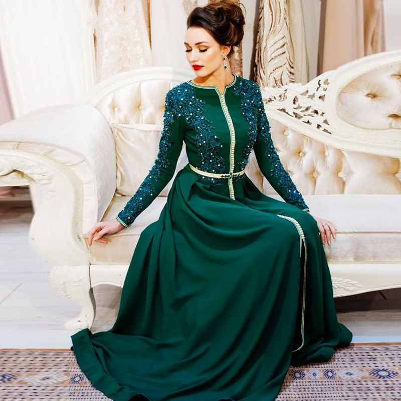 2020 Elegant Green Muslim Moroccan Kaftan Evening Dresses Appliques Dubai Saudi Vestidos De Noche Prom Party Dress