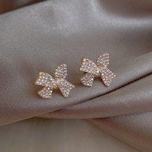 2020 New fashion Coreano belas Mulheres temperamento brilhante brincos de cristal Bowknot do parafuso prisioneiro Espumante Zircão Cheia de Jóias brincos Arco