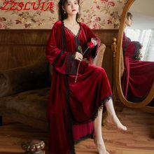 Robes Suspender-Dress Dressing-Gown Court-Sleepwear Velvet Lace Suits Eyelash Royal Retro