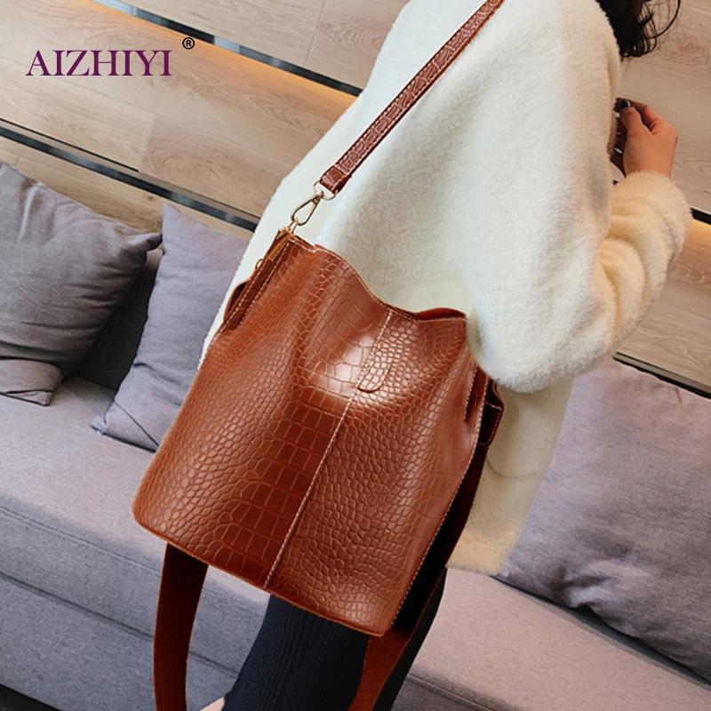 Vintage Casual Bucket Bags For Women Shoulder Bag Crocodile Pattern Quality PU Leather Messenger Bag Big Tote Popular Style 2020