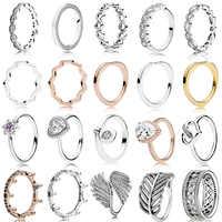 Novo 100% 925 prata esterlina rosa ouro radiante lágrima para as mulheres europeu marca original anel de noivado moda jóias presente