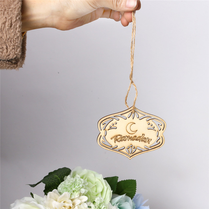 10Pcs Wood Eid Mubarak DIY Pendants Ramadan Kareem Dropping Eid Al-Fitr Decor for home Mubarak Party Supplies Gifts Box Decor