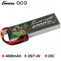 Gens ace 2S 3S 7.4V 11.1V 4000mAh Lipo Battery Pack 25C XT60 T Dean Plug Connector for Graupner RC Helicopter Car FPV Drone Boat