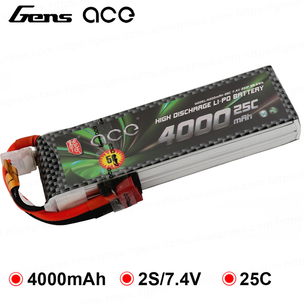 Gens ace 2S 3S 7.4V 11.1V 4000mAh Lipo Battery Pack 25C XT60 T Dean Plug Connector for Graupner RC Helicopter Car FPV Drone Boat image