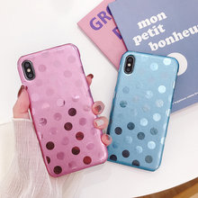 Funda moderna para iPhone XS Max funda Polka Dots PU Funda de cuero para iPhone 11 Pro Max funda trasera delgada Fundas(China)