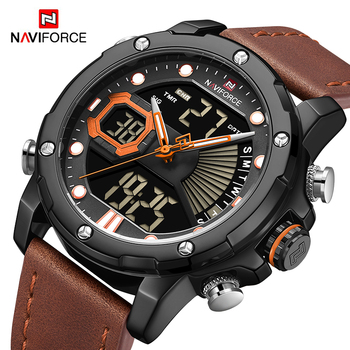 Top Luxury Brand NAVIFORCE Military Men Watch Digital Leather Sport Watches Quartz Mens Waterproof Clock Relogios Masculino 2020 mens watches to luxury brand men leather sports watches kademan men s quartz led digital clock waterproof military wrist watch