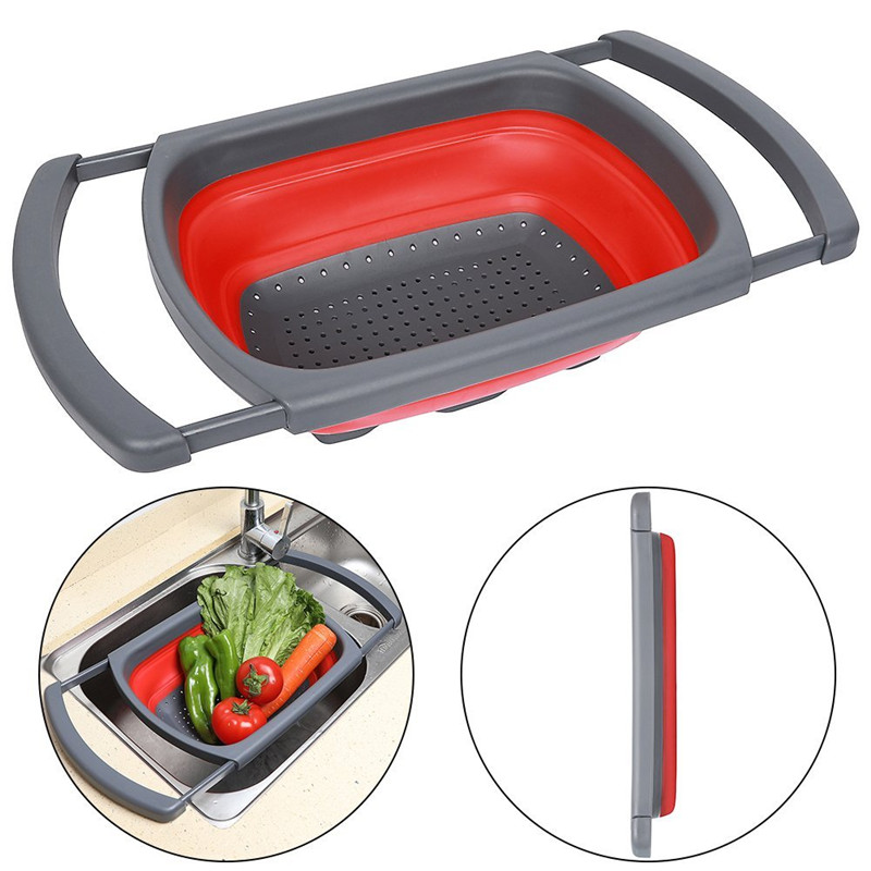 Silicone Drain Folding Baskets Foldable Colander Collapsible Kitchen Strainer Fruit Vegetable Washing Strainers Kitchen Utensils in Colanders Strainers from Home Garden