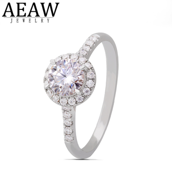 AEAW 1.0ct 6.5mm DF Carat Round Brilliant Cut Moissanite Ring Solid 14k White Gold 4 Prong For Womens Ladys Engagement