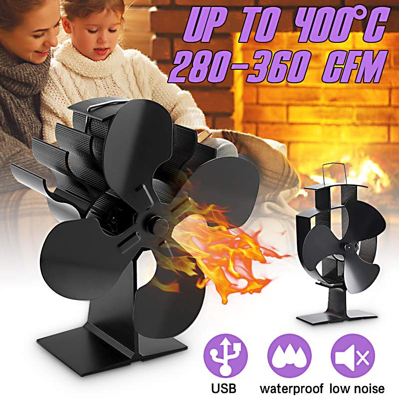 2/3/4 Blades Heat Powered Wood Stove Fan Eco Fans For Wood Stoves Home Fireplace Fan Efficient Heat Distribution Home Tools
