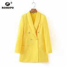 ROHOPO Woman Yellow Blazer Double Buttons Gradient Fly Solid Chi Notched Long Straight Outwear #2247