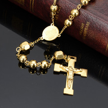 Granny Chic 8mm Gold Tone Rosary Beads Link Chain Necklace for Women Men Crucifix Jesus Pendant Religious Cross Jewelry Gifts