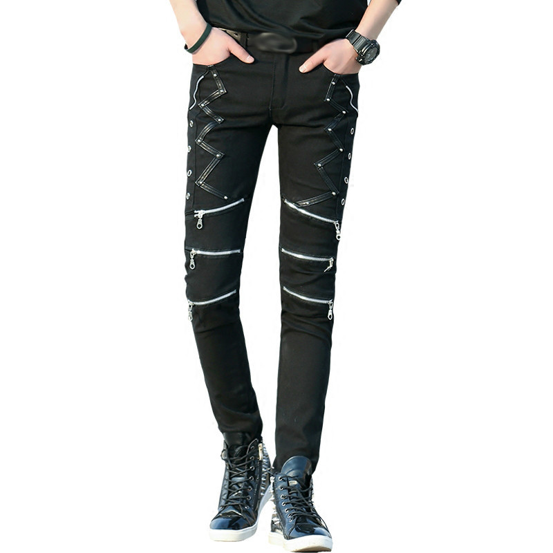 Fashion Slim Fit Pants Punk Style Black Patchwork Leather Zippers Dance Night Club Gothic Cool Jeans Trousers For Men
