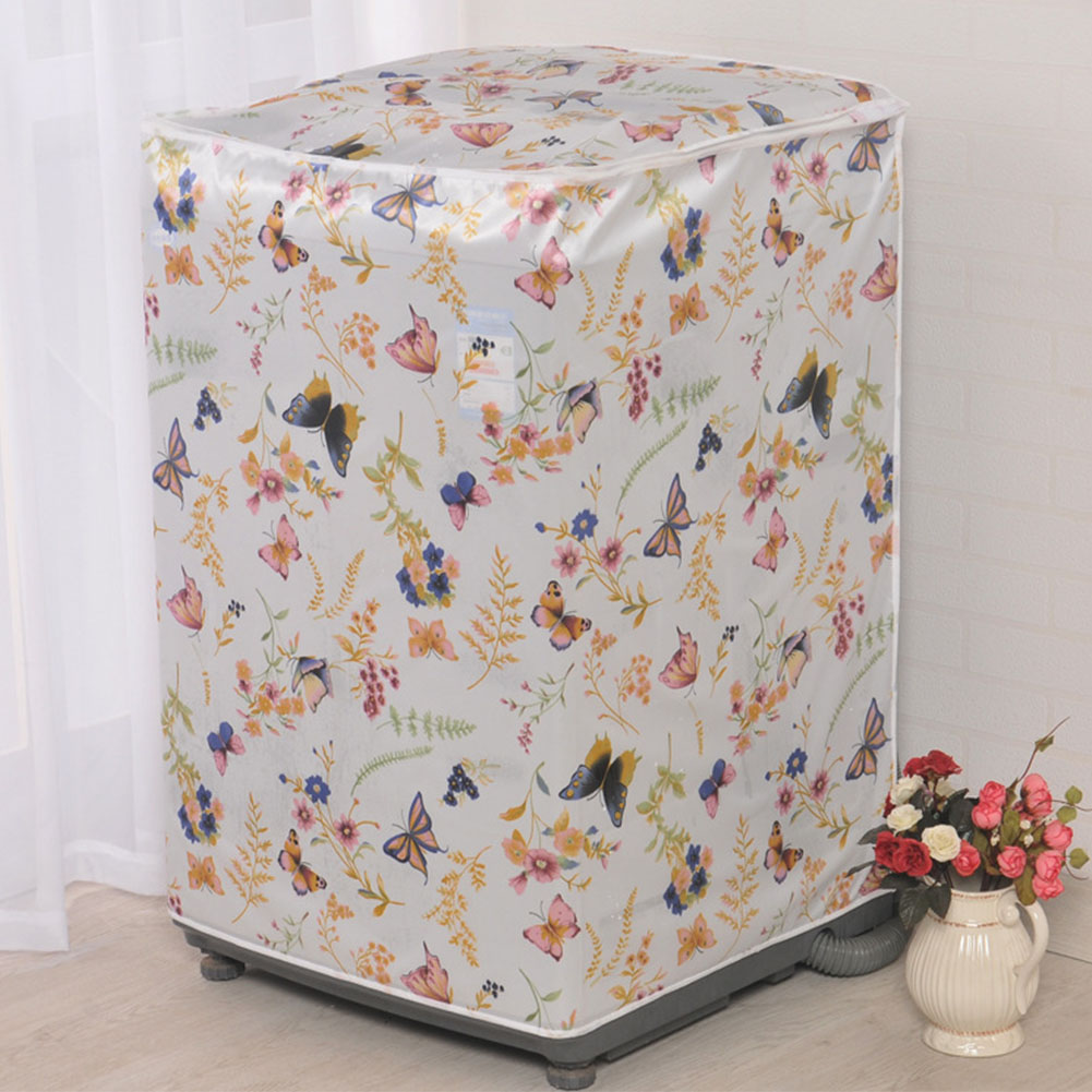 Accessory Case Protective Waterproof Floral Printed Bathroom Cute Home Washing Machine Cover Dust Proof Front Loading Decoration image
