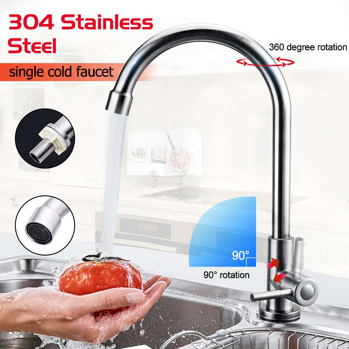Kitchen Faucet 304 Stainless Steel Single Handle Sink Tap Single Cold Water Tap Bathroom Basin Water Faucet Deck Mount