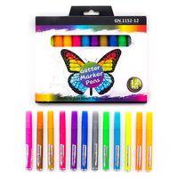12 색 반짝이 형광펜 형광 마커 세트 DIY 저널 낙서 그리기 스크랩북 편지지 학교 용품