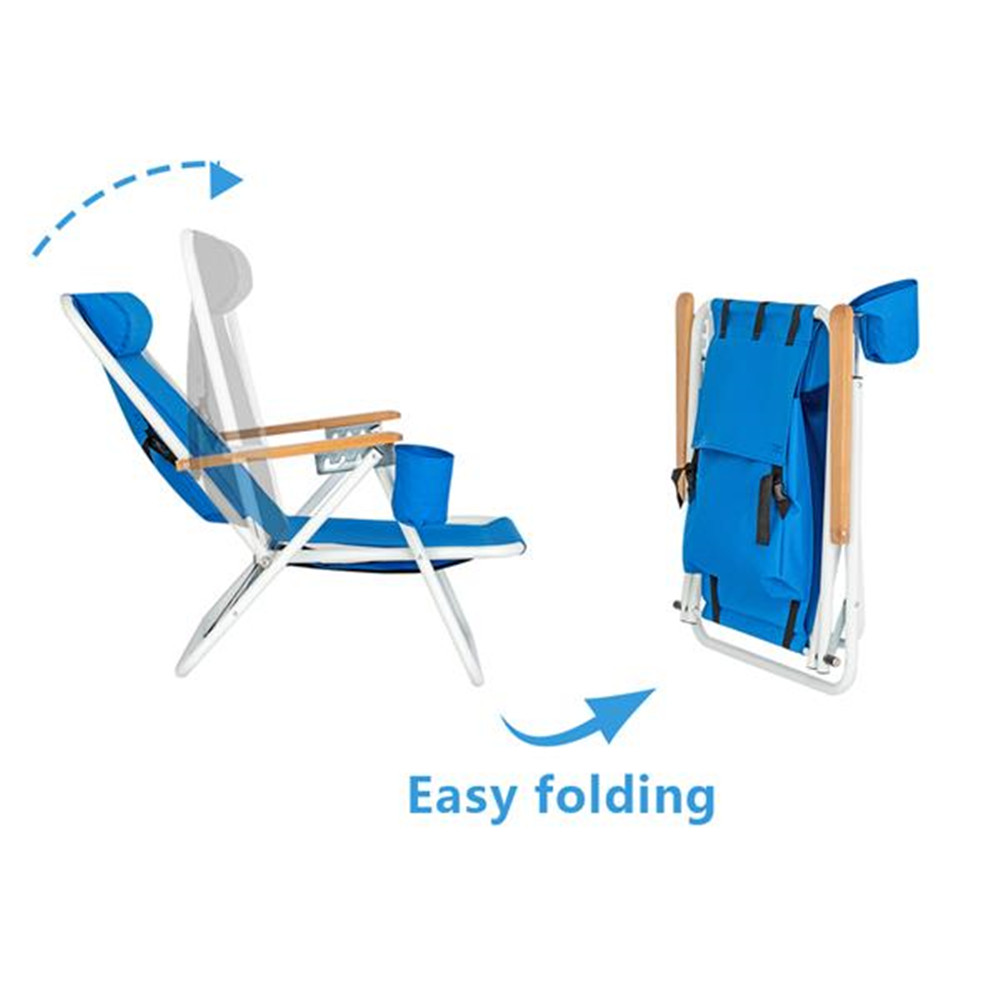Portable High Strength Beach Chair With Adjustable Headrest Blue 600D Polyester Fabric Garden  Chair