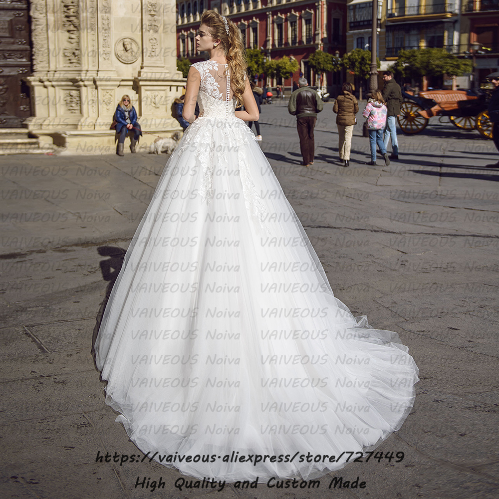 Image 2 - Vestidos de Novia New Fashion Bridal Gowns Romantic Lace Tulle A Line Wedding Dress 2020 Cheap Bridal Dresses Robe de Mariee-in Wedding Dresses from Weddings & Events