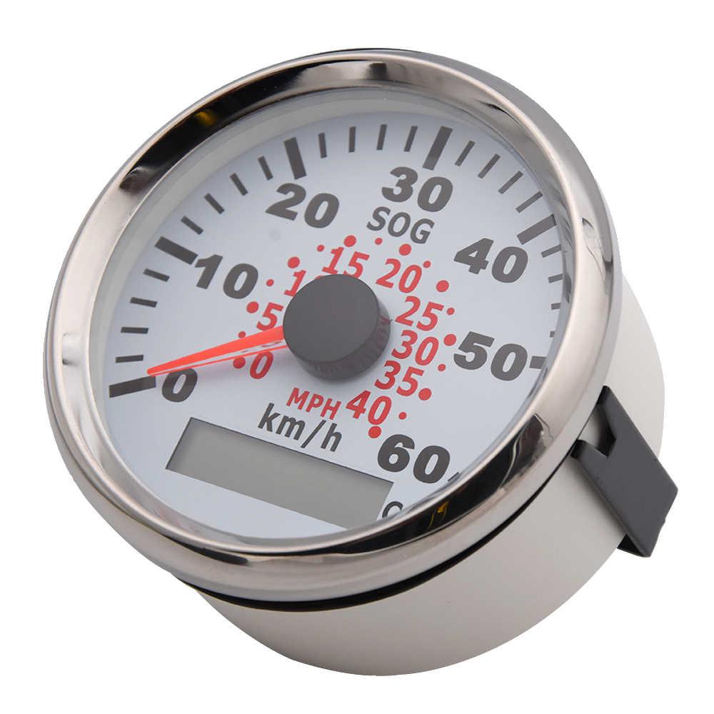 85mm GPS Speedometer for Motorcycle Car Marine Boat ATV 0-75 MPH 0-120 Km//h Odometer Speed Gauge Red 9-32V Waterproof Universal
