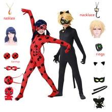 Ensemble de boucles d'oreilles pour enfants, Costume de Cosplay pour filles, Costume d'halloween, Marinette, chat Noir, bague noire, combinaison, Tikki Plagg