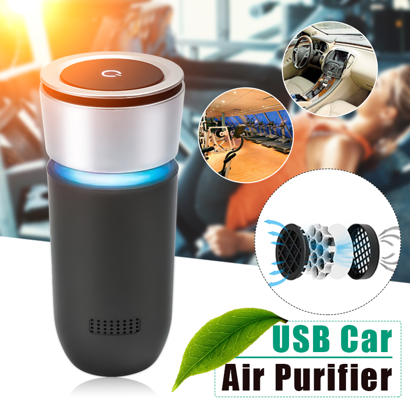AUGIENB Car Air Purifier 12V Negative Ions Air Cleaner Ionizer Air Freshener Auto Mist Maker PM2.5 Eliminator Cup Car Charger