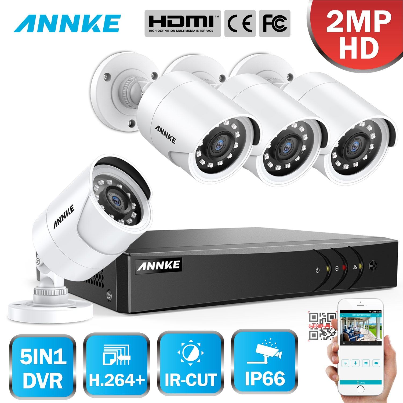 ANNKE 8CH 3MP DVR Sistema de 4 C/ámaras de Seguridad de vigilancia de CCTV 1920*1536P Metal con 2TB Disco Duro Acceso Remoto Visi/ón Nocturna 24 IR Leds Exterior//Interior