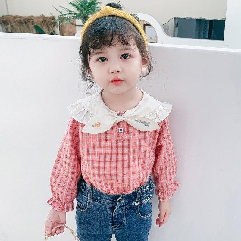 CNUM Autumn Cotton Girls Shirts School Children Blouses Clothing Kids Cute Lace Long Sleeve Blouse for Girl Blouses Tops