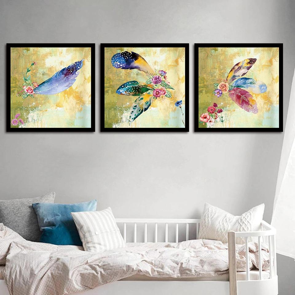 3 шт абстрактный набор цветов Картина на холсте Современное